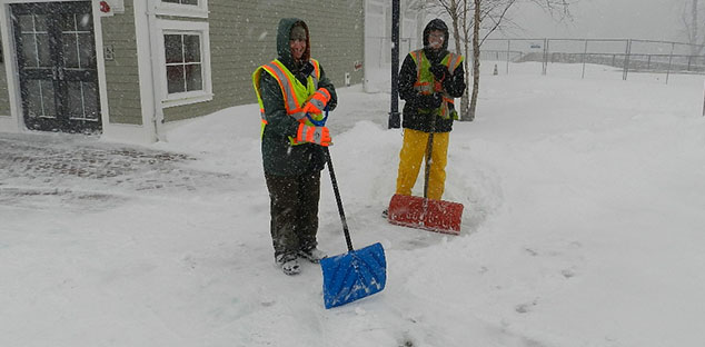 Glastonbury staff keeping the sidewalks safe